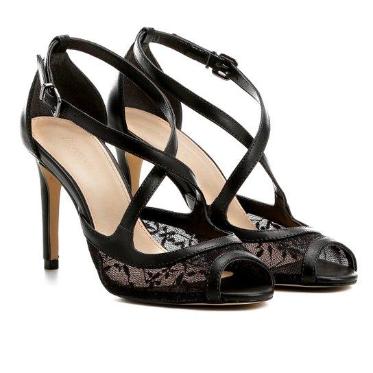 bfec48cd7 Sandália Shoestock Salto Fino Renda Feminina - Preto | Shoestock