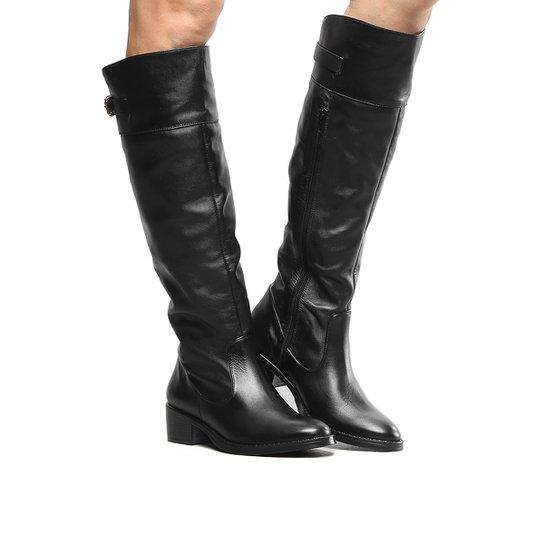 c09f15e23 Bota Couro Montaria Shoestock Flat Feminina - Preto - Compre Agora ...