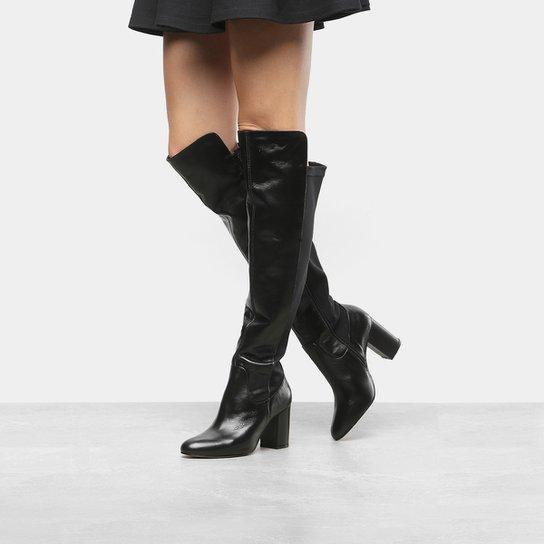 20c48825b4 Bota Couro Over The Knee Shoestock Neoprene Feminina - Preto ...