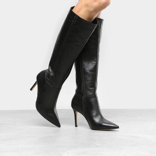 5c06d3e373 Bota Couro Cano Longo Shoestock Salto Fino Feminina - Preto - Compre ...