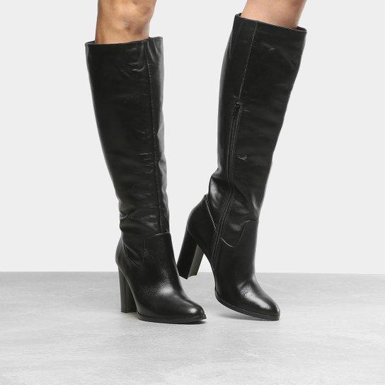 89a4e29f6a Bota Couro Cano Longo Shoestock Salto Grosso Feminina - Preto ...