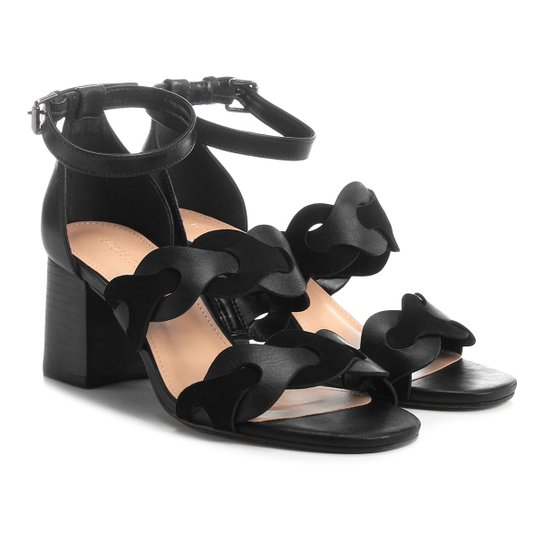 d97a053117 Sandália Couro Shoestock Salto Grosso Feminina - Preto