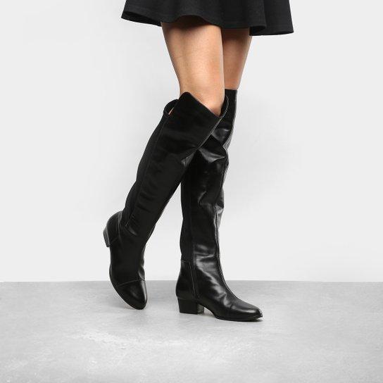 691978fab Bota Couro Over The Knee Shoestock Neoprene Feminina - Preto | Shoestock