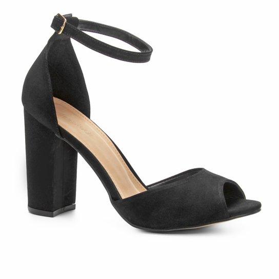 1f918d4b3e Sandália Couro Shoestock Salto Grosso Feminina - Preto