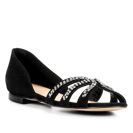 00582a404d Sapatilha Couro Shoestock Aberta Strass Feminina - Preto - Compre ...