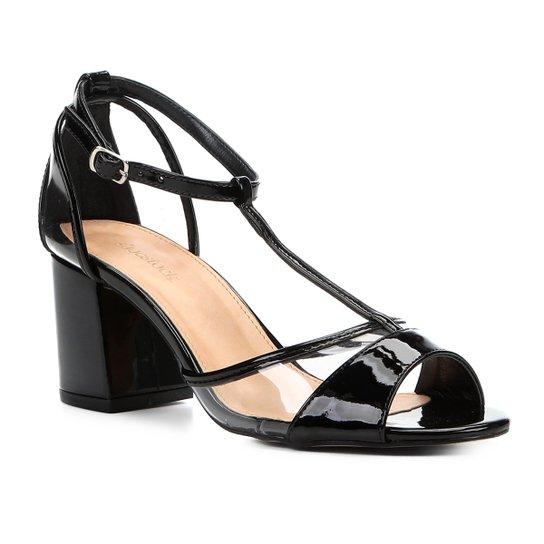 748a463561 Sandália Shoestock Salto Grosso Verniz Vinil Feminina - Compre Agora ...