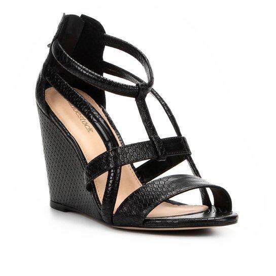 06d2a0d034 Sandália Anabela Shoestock Cobra Tiras Feminina - Preto | Shoestock