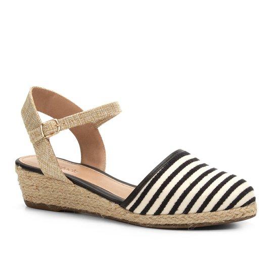 538801554c Sandália Anabela Shoestock Espadrille Linho Feminina - Preto ...