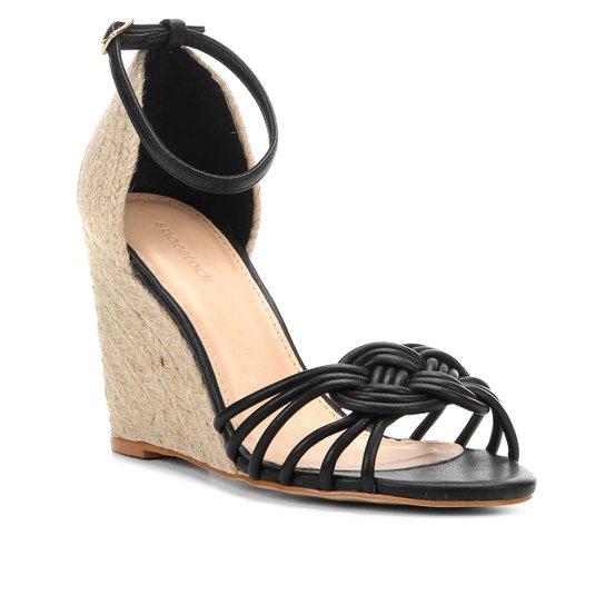 a3550828a1 Sandália Anabela Shoestock Nó Marinheiro Corda Feminina - Preto ...