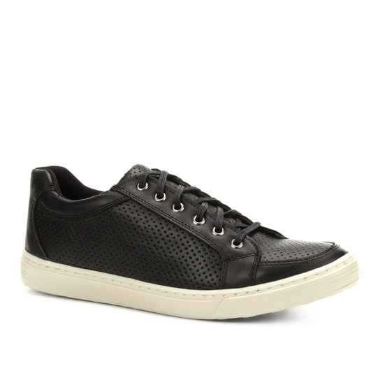 2cc60a403a Sapatênis Couro Shoestock Perfuros Masculino - Preto - Compre Agora ...