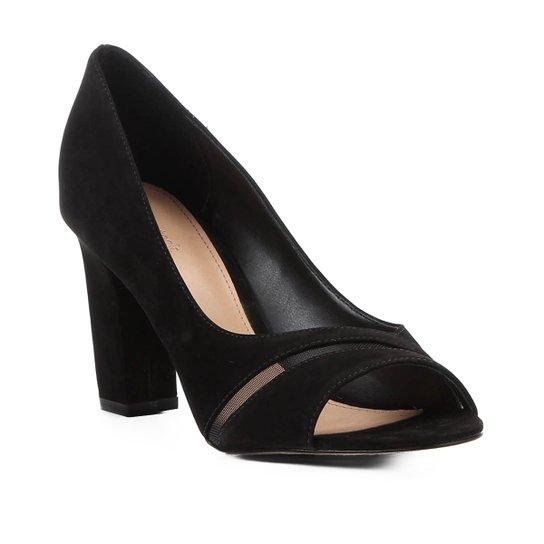 8bb78be4c Peep Toe Shoestock Salto Grosso Tela - Preto - Compre Agora