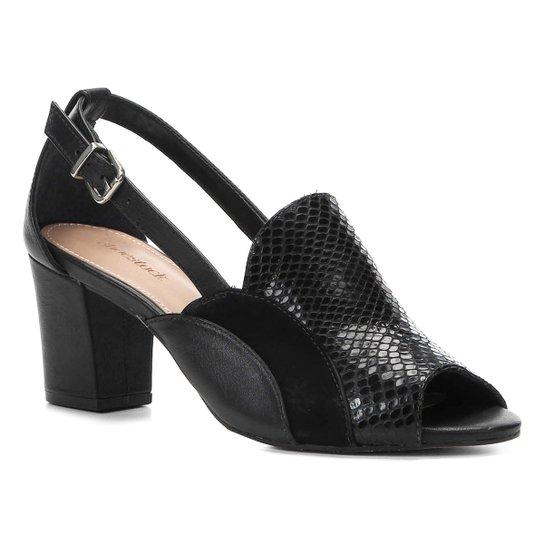 09a8da3065 Sandália Couro Shoestock Salto Bloco Cobra Feminina - Preto