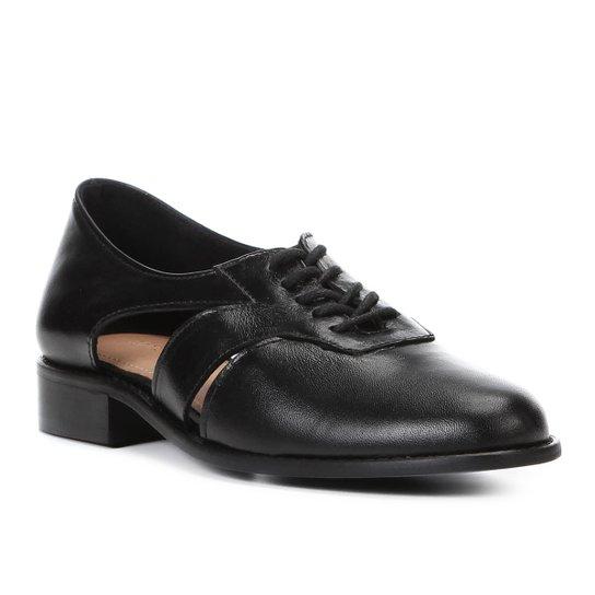 37c375557b Oxford Couro Shoestock Vazado Feminino - Preto