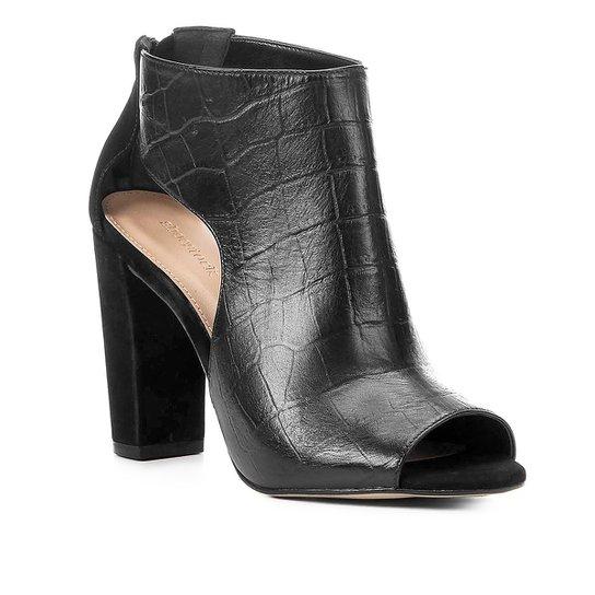 84f451afa1 Sandália Couro Shoestock Salto Grosso Croco Feminina - Preto