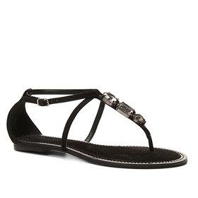 cb01e88292 Rasteira Couro Shoestock Franjas - Caramelo   Shoestock