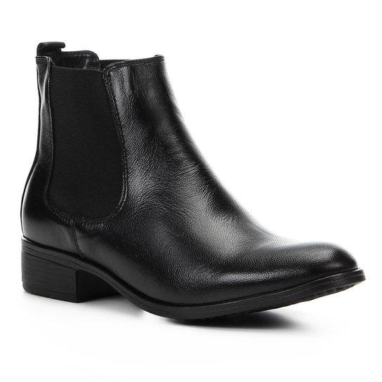 a1a1a6ebe6 Bota Chelsea Shoestock Elástico Couro Feminina - Preto