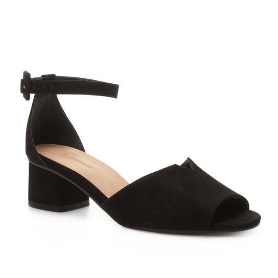 388605f94f Sandália Couro Shoestock Salto Bloco Nobuck Feminina - Preto