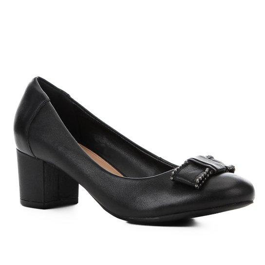 af85cf0e0c Scarpin Couro Shoestock Salto Bloco Laço - Preto