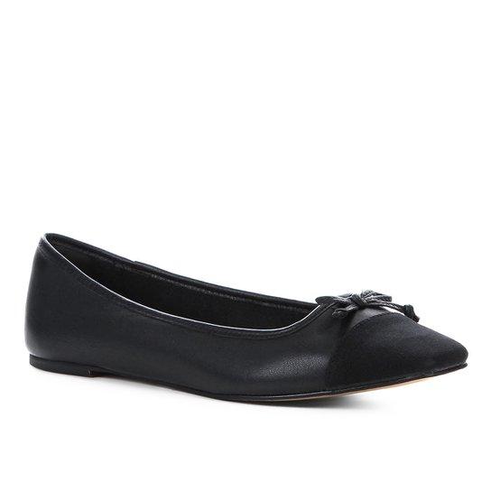 761aac9b6a Sapatilha Couro Shoestock Laço Feminina - Preto - Compre Agora ...