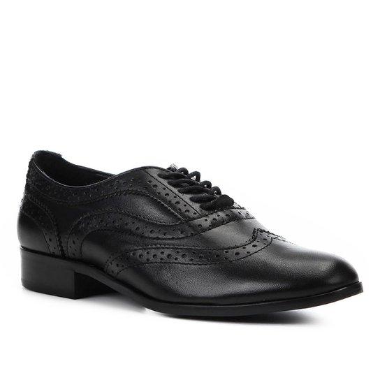 792f2785b2 Oxford Couro Shoestock Brogues Feminino - Preto - Compre Agora ...