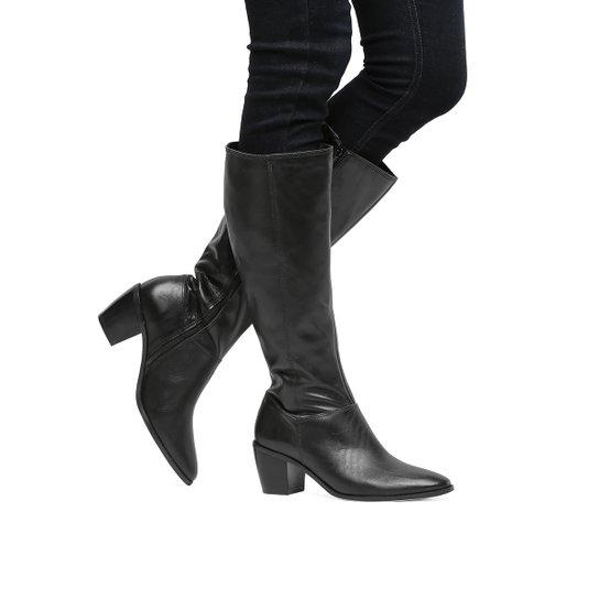 b39e48daa Bota Couro Shoestock Cano Longo Feminina - Preto - Compre Agora ...