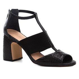 ff0351e135 Sandália Couro Shoestock Salto Bloco Tramado - Compre Agora