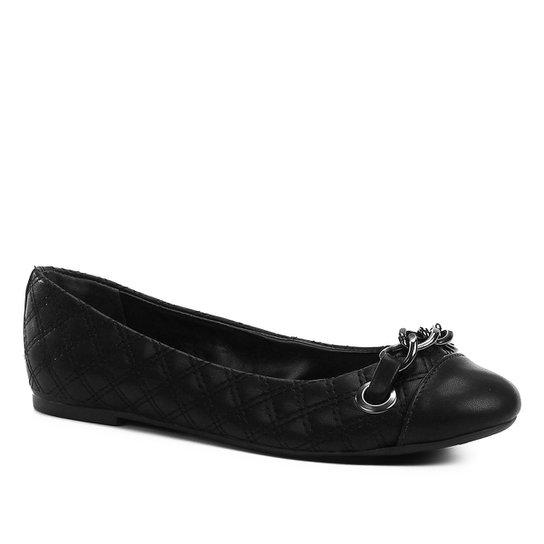 e3fe6b4c2 Sapatilha Shoestock Matelassê Corrente Feminina - Preto   Shoestock