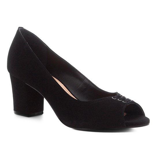 18634d459 Peep Toe Couro Shoestock Nobuck Lace Salto Bloco - Preto | Shoestock