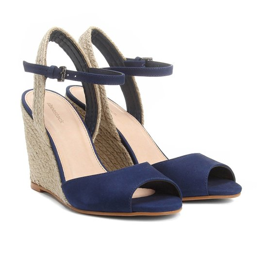 642ac857c Sandália Anabela Couro Shoestock Corda Feminina - Azul   Shoestock