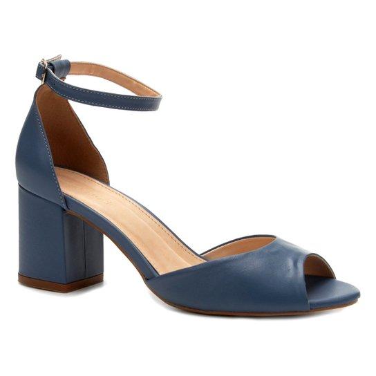 7caa6bbdb0 Sandália Couro Shoestock Salto Bloco Feminina - Azul | Shoestock