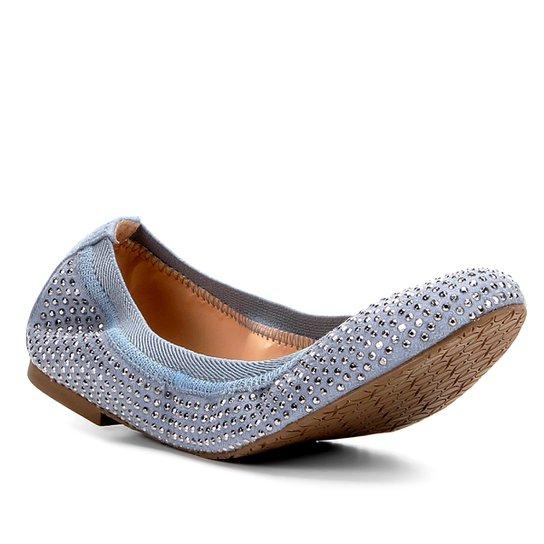 be672a303ba Sapatilha Couro Shoestock Bico Redondo Hot Fix Feminina - Azul ...