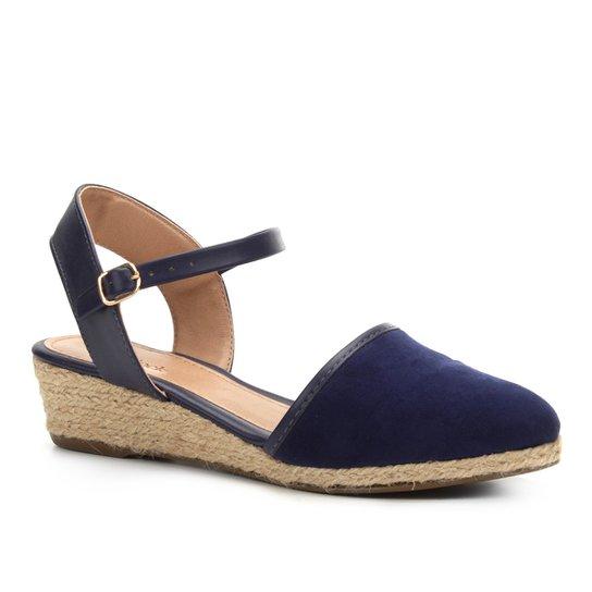 3ab4ca38b9 Sandália Anabela Shoestock Espadrille Linho Feminina - Azul - Compre ...