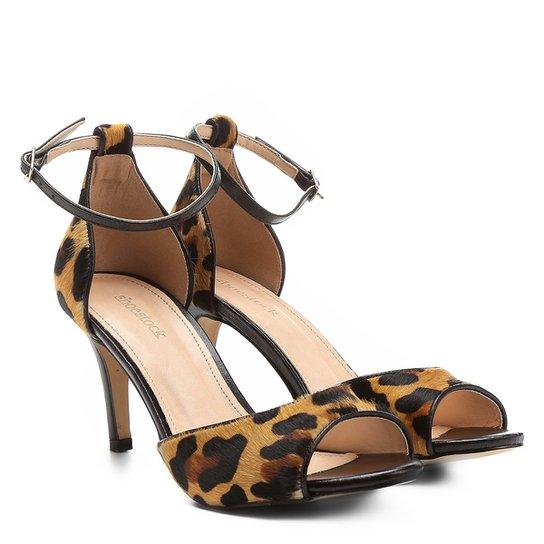 089082e0c3 Sandália Couro Shoestock Salto Fino Naked Tornozeleira Feminina - Onça