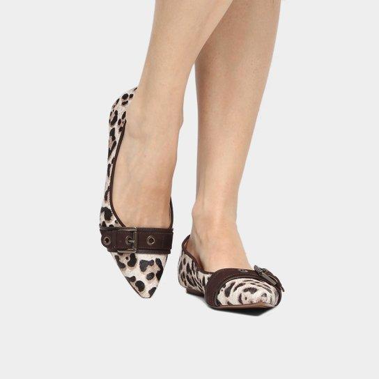 971097628f Sapatilha Couro Shoestock Bico Fino Fivela Ilhoses Pelo Feminina - Onça