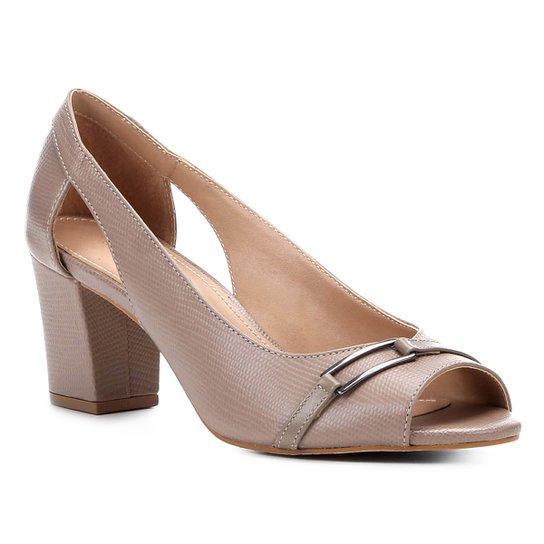 23d24e705a Peep Toe Shoestock Lezard Metal - Cinza