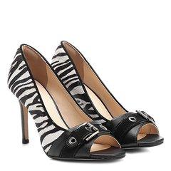7f1090b509 Peep Toe Couro Shoestock Salto Fino Animal Print