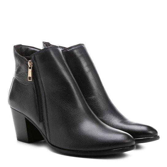 92fec484c Bota Couro Cano Curto Shoestock Zíper Feminina - Marinho - Compre ...