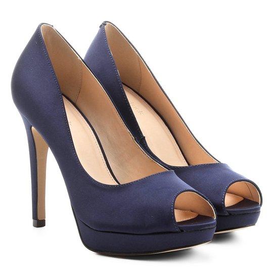 314a4b5cd1 Peep Toe Shoestock Meia Pata Cetim - Marinho