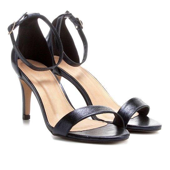 761227cc16 Sandália Couro Shoestock Salto Fino Naked Feminina - Marinho