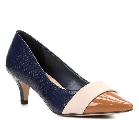 ff56c85265 Scarpin Shoestock Salto Baixo Mix Texturas - Marinho