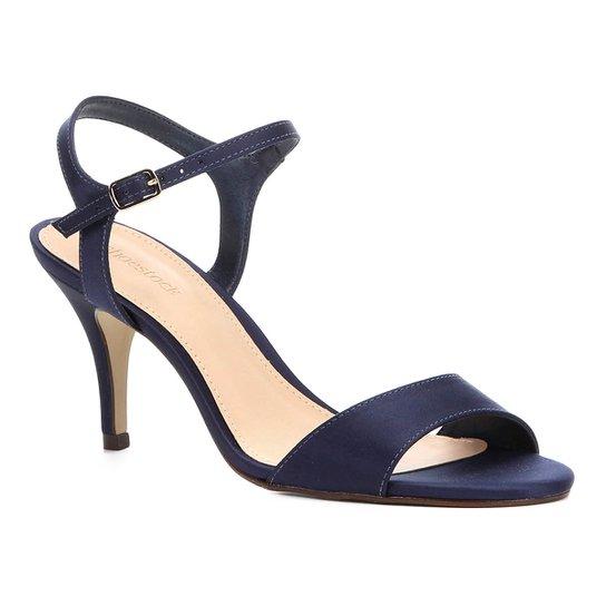 14f04e1736 Sandália Shoestock Salto Fino Cetim Feminina - Marinho - Compre ...