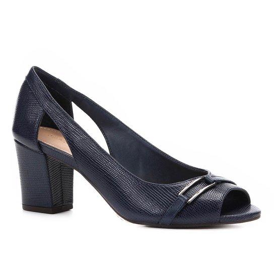 3816355082 Peep Toe Shoestock Lezard Metal - Marinho