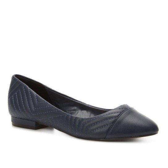 3b5474ce4 Sapatilha Couro Shoestock Bico Redondo Matelassê Feminina - Marinho ...