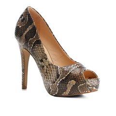 0304a21b5a Peep Toe Couro Shoestock Meia Pata Snake