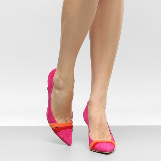 Scarpin Couro Shoestock Salto Alto Mix Colors - Pink