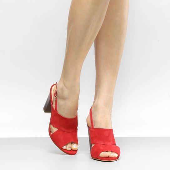 17a7414457 Sandália Couro Shoestock Salto Grosso Camurça Feminina - Vermelho