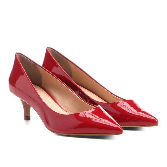a4e2d77c2 Scarpin Shoestock Salto Médio Verniz - Vermelho   Shoestock