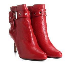 fcd4ee4330 Bota Couro Cano Curto Shoestock Bico Fino - Vermelho - Compre Agora ...
