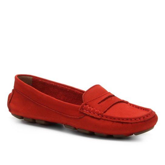 8ed67fe297 Mocassim Couro Shoestock Drive Nobuck Feminino - Vermelho