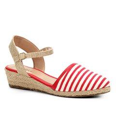 dd346f93e Sandália Anabela Shoestock Espadrille Linho Feminina